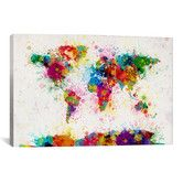 Found it at AllModern - 'World Map Paint Drops III' by Michael Tompsett Painting Print on Canvas