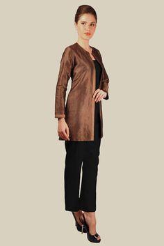 Black And Gold Banarasi Zari Weave Pure Brocade Silk Jacket