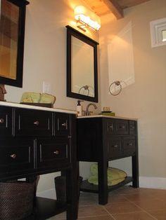 Barbara Stock Interior Design Espresso vanities in master bath