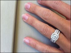Cushion halo engagement ring with two wedding bands But I want the