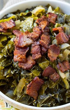 Spicy Collard Greens cooked until tender with lots of bacon. Collards greens are one of the healthiest foods in the world, it does take some getting used to so mixing in some bacon is a great way to add some excitement. Side Dish Recipes, Vegetable Recipes, Chicken Recipes, Meatball Recipes, Veggie Food, Cooking Recipes, Healthy Recipes, Cooking Games, Vegetarian Cooking