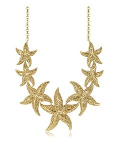 Roberto Cavalli Sea Life Gold Tone Metal Star Fish Necklace w/Crystals