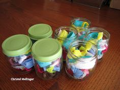 Hair ties made with Fold Over Elastic (FOE), put in a baby food jar.