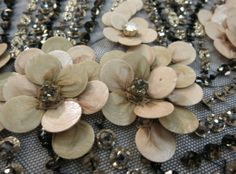 DETAIL ~ Cascading Beige Floral Design With Crystals on Black Tulle.