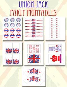 DIY Party Printables Union Jack by EcoGlamEvents on Etsy British Themed Parties, British Party, Uk Parties, Royal Tea Parties, Union Jack Decor, Diy Party, Party Ideas, London Party, Tea Party Decorations