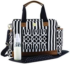 Mud Pie Diaper Bag, Bigger- this is so big and has so many compartments. Perfect for traveling and everyday use. Also has a matching convertible backpack.
