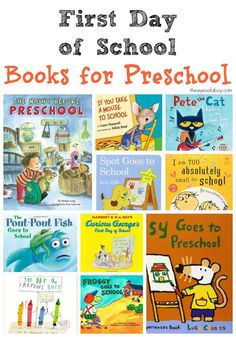 First Day of School Books for Preschool - great list of books for toddlers and kids heading back to school this Fall Preschool First Week, First Day Activities, Preschool Literacy, Preschool Books, Back To School Activities, Preschool Lessons, In Kindergarten, Preschool Activities, September Preschool