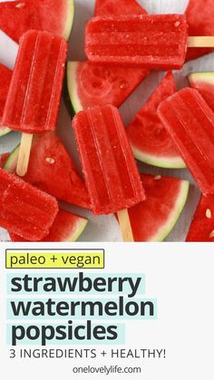 Strawberry Watermelon Popsicles are a fresh, bright, healthy warm weather treat! They're 100% fruit and naturally help balance your electrolytes. (Vegan & paleo) // healthy popsicles // strawberry popsicles // watermelon popsicles // paleo popsicles // vegan popsicles // naturally sweetened // healthy snack // #healthy #popsicles #icepops #paleo #vegan #dessert Watermelon Ice Cream, Watermelon Popsicles, Healthy Popsicles, Healthy Snacks, Healthy Eating, Kid Snacks, Healthy Kids, Clean Eating, Popsicle Recipe For Toddler