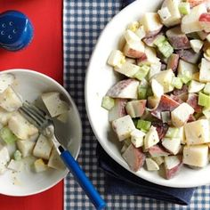 Mom's Tangy Potato Salad Recipe- Recipes  This chunky potato salad is a great dish for a family picnic or on a night when you're grilling out. The homemade dressing makes it extra delicious. —Michelle Gurnsey, Lincoln, Nebraska