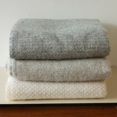 Illusion Grey Wool Blanket 150x183cm - 47£