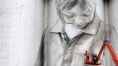 Guido van Helten street art. On a grain silo in Coonalpyn, South Australia. Silo Street art.