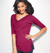 Button Accent Top in Misses - A colorful top with 3/4 length sleeves and button accents at the shoulders.  NOW JUST $9.99!!!