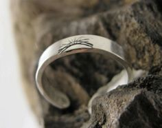 """TOE RING, STERLING , Sterling Silver Toe Ring, Hand Stamped """"Sunrise"""" . Ring will adjust Gentle Squeeze,Handmade,3 mm wide, body Jewelry by McWilliamsBopArt on Etsy"""