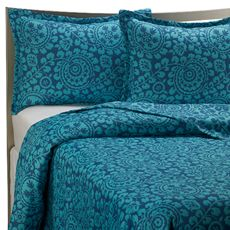 Kas Trinity Twin Quilt - Teal. Teal like the odalisque's pants. The intricate pattern echoes the patterns in the painting. $59.99