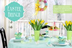 Aqua and Green Easter Sunday Brunch Tablescape #TargetStyle @Target