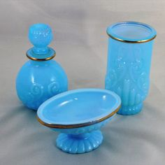 Avon Bristol Blue Glass Set, 3 Pieces of a Beautiful Bathroom Set, Perfume Bottle with Soap Dish and Tumbler, Vintage 1970s Avon Glass