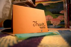 Handmade Papercut Thank You Card Cursive by FlyingPaperAirplane, $6.50