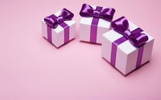 Download wallpapers gifts boxes, purple silk bows, holiday, gifts