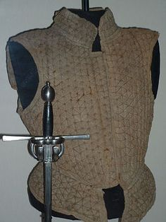 12th century scottish armor - Google Search; 16th century- A '''brigandine''' is a form of body armour+ from the Middle Ages+. It is a cloth garment, generally canvas+ or leather+, lined with small oblong steel plates rivet+ed to the fabric. Became popular after 1240.