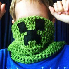 Creeper scarf, minecraft, crochet