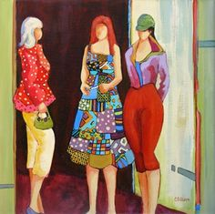 Daily Painting, Girlfriend Time, contemporary figure painting, painting by artist Carolee Clark