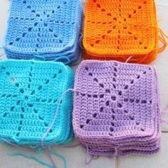 Crocheted Squares, solid granny.