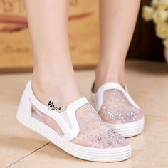 Casual shoes canvas shoes hollow breathable mesh shoes within the higher female