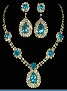 Close to my wedding set. Vintage Style Aqua Blue & Clear Rhinestone Necklace with Earrings $24.00 @ www.whimzaccessories.com