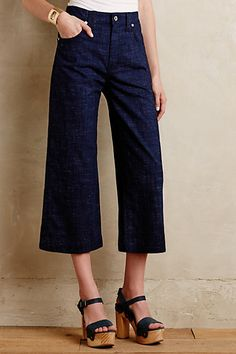 Dying to try denim culottes for fall. These dark-wash, tailored 7s look perfect for me. 7 For All Mankind High-Rise Culottes #anthropologie