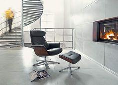 Conform Timeout Relaxsessel Und Hocker, X Fuß Aluminium, Leder Fantasy  Schwarz, Sitzschale