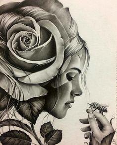 Back piece tattoo Tattoo Sketches, Tattoo Drawings, Drawing Sketches, Art Drawings, Rose Tattoos, Body Art Tattoos, Sleeve Tattoos, Mago Tattoo, Art Visage