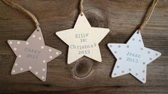 Wooden personalised spotty hanging Star decoration for christmas, new baby, thanksgiving etc