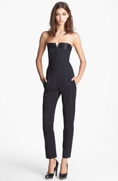 The Kooples Strapless Satin Trim Jumpsuit available at #Nordstrom