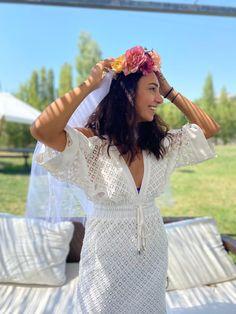 Bachelorette Veil, Bachlorette Party, Bachelorette Ideas, Flower Crown Veil, Headpiece, Bridal Shower, White Dress, Flowers, Dresses