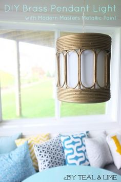 DIY Brass Pendant Light using Modern Masters Metallic Paint | By Teal & Lime