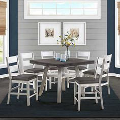 Ashlyn 7-piece Square to Round Counter Height Dining Set