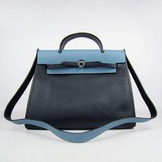 Hermes Herbag in Black Calfskin With Blue Calfskin - Herbag Zip - Hermes Handbags - Hermes