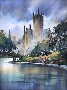 Reflections - Wells Cathedral. Thomas W Schaller. Watercolor. 24x18 - 17 Oct. 2017.