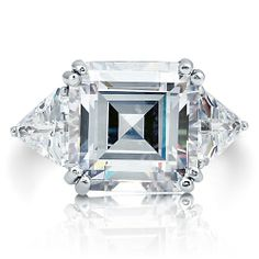 (This is sooooo gorgeous!!!!) Sterling Silver Ring Asscher Cut Cubic Zirconia 3-Stone Ring 16 ct.tw