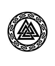 'Valknut Odin Warrior Symbol Vikings' Photographic Print by Anne Mathiasz - Warrior Symbol Tattoo, Warrior Symbols, Warrior Tattoos, Viking Symbols, Viking Runes, Mayan Symbols, Egyptian Symbols, Ancient Symbols, Viking Tattoo Symbol