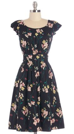 Black Floral Dress with Fluttery Cap Sleeves