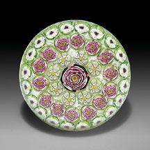 Parabelle Glass 1997 Artist Proof concentric millefiori paperweight.
