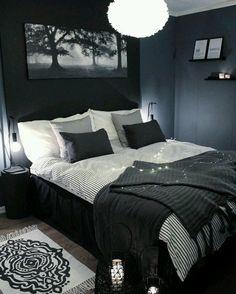 Blue and Black Bedroom. Blue and Black Bedroom. Navy Blue Black Bedroom Ideas Home Delightful Homes Decor Navy Blue Bedrooms, Bedroom Black, Dark Bedrooms, Black Room Decor, Black Rooms, Black Bed Room Ideas, Bedrooms For Men, Mens Room Decor, Dark Home Decor