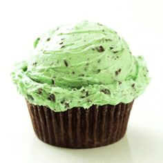 This is one of my favorites on sweethaus: Mint Chocolate Chip Cupcake