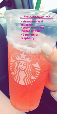fitz signature starbucks drink just a strawberry açaí refresher w/ peach fusi. fitz signature starbucks drink just a strawberry açaí refresher w/ peach fusion tea and 2 pumps of raspberry ❤️ Secret Starbucks Recipes, Bebidas Do Starbucks, Starbucks Hacks, Healthy Starbucks Drinks, Starbucks Secret Menu Drinks, Starbucks Refreshers, Starbucks Coffee, Starbucks Iced Tea Recipe, Frappuccino