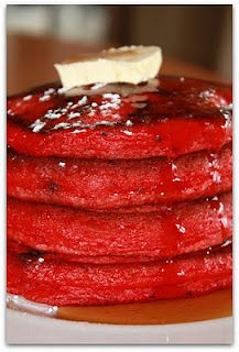 Red velvet pancakes: Flour, baking powder, baking soda, salt, sugar, unsweetened cocoa powder, eggs, buttermilk, sour cream, red food coloring, vanilla, chocolate chips