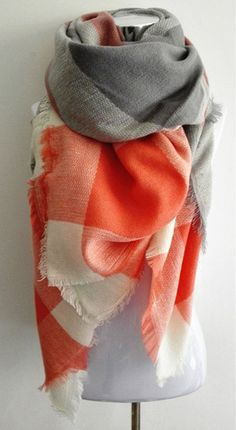 This Orange Plaid Blanket Scarf is a must have this fall! Material: Cotton