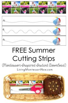 These free Montessori-inspired summer cutting strips are an instant download with a variety of skill levels; scissor cutting practice for classroom or home - Living Montessori Now #Montessori #homeschool #toddler #preschool #summertheme #summer #scissorskills Summer Activities, Toddler Activities, Toddler Preschool, Free Summer, Summer Fun, Cutting Activities, Cutting Practice, Scissor Skills, Montessori Materials