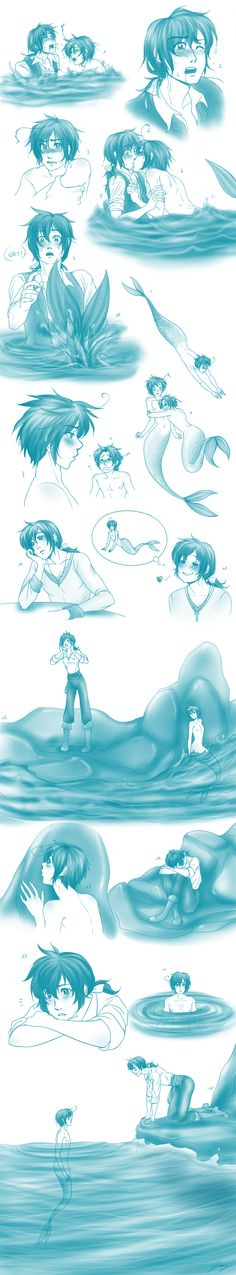 Romano as the little mermaid and Spain as the prince... ad then there's Veneziano..so cute! Part 2