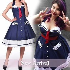 BlueBerryHillFashions: Rockabilly Dress - New Arrival - Cute Red White and Blue Dress! xs to 4x
